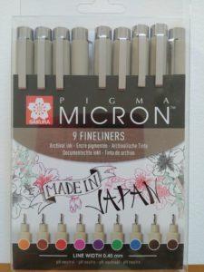 feutres microns en couleurs