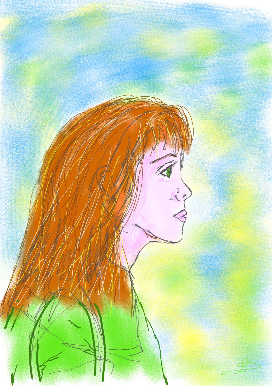dessin visage profil en couleur