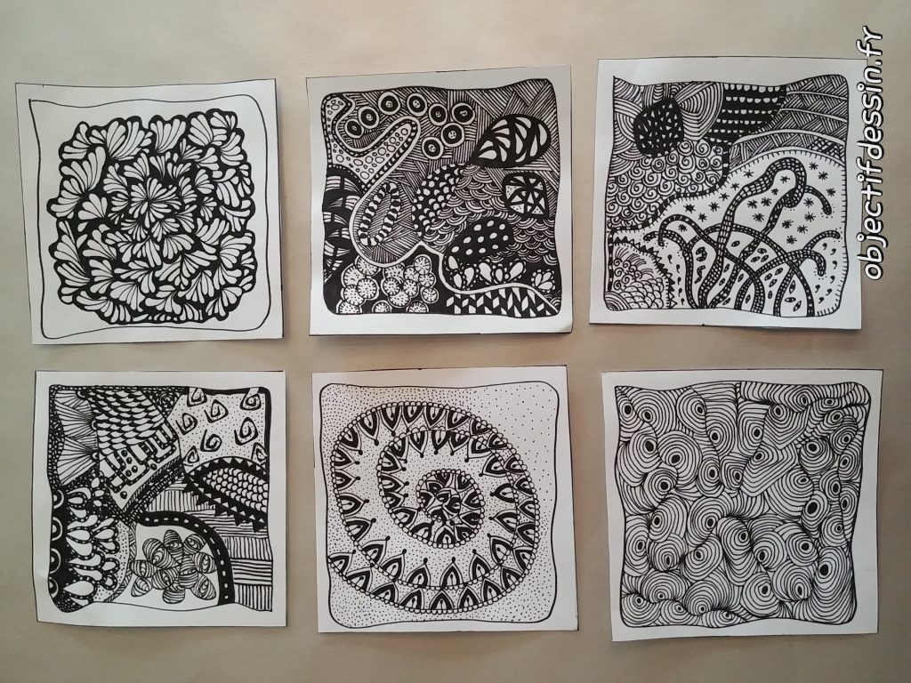 6 tuiles de zentangle
