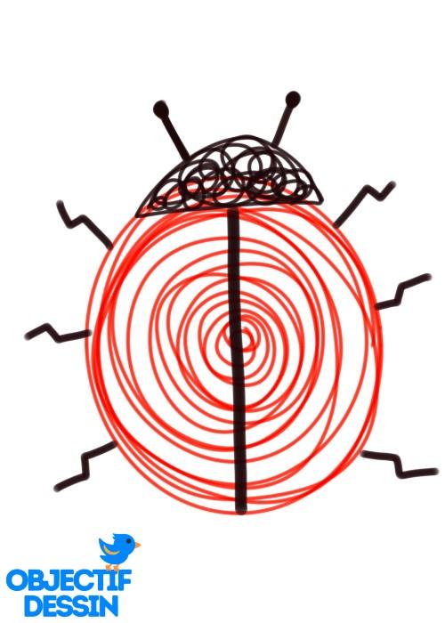 dessin de coccinelle spirale pattes