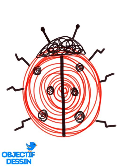 dessin de coccinelle spirale points