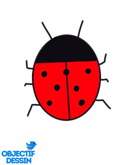 dessin très facile coccinelle corps rouge points