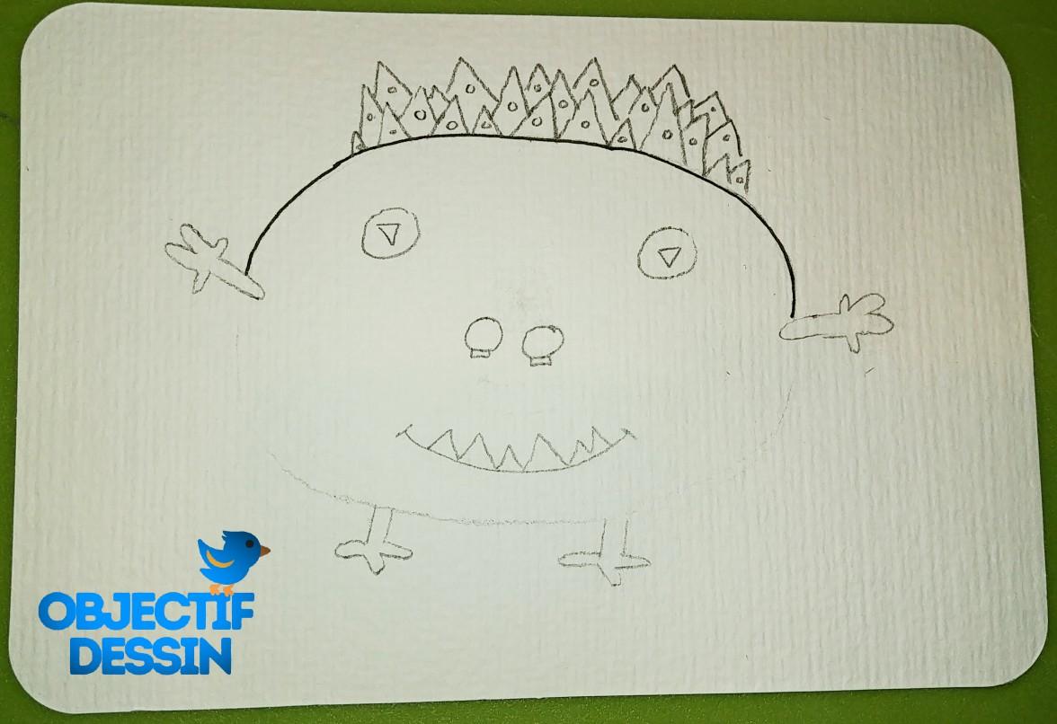 Dessin Monstre Gentil Crayon Papier