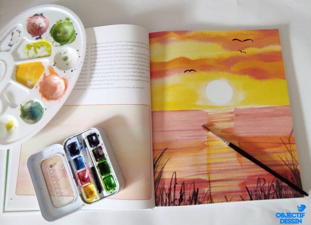 Livre Aquarelle Enfant Peindre Coucher De Soleil