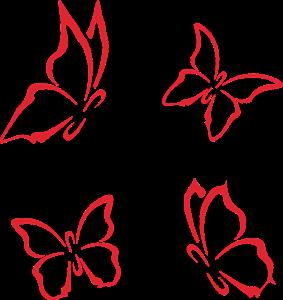 Papillons Minimalistes Rouges