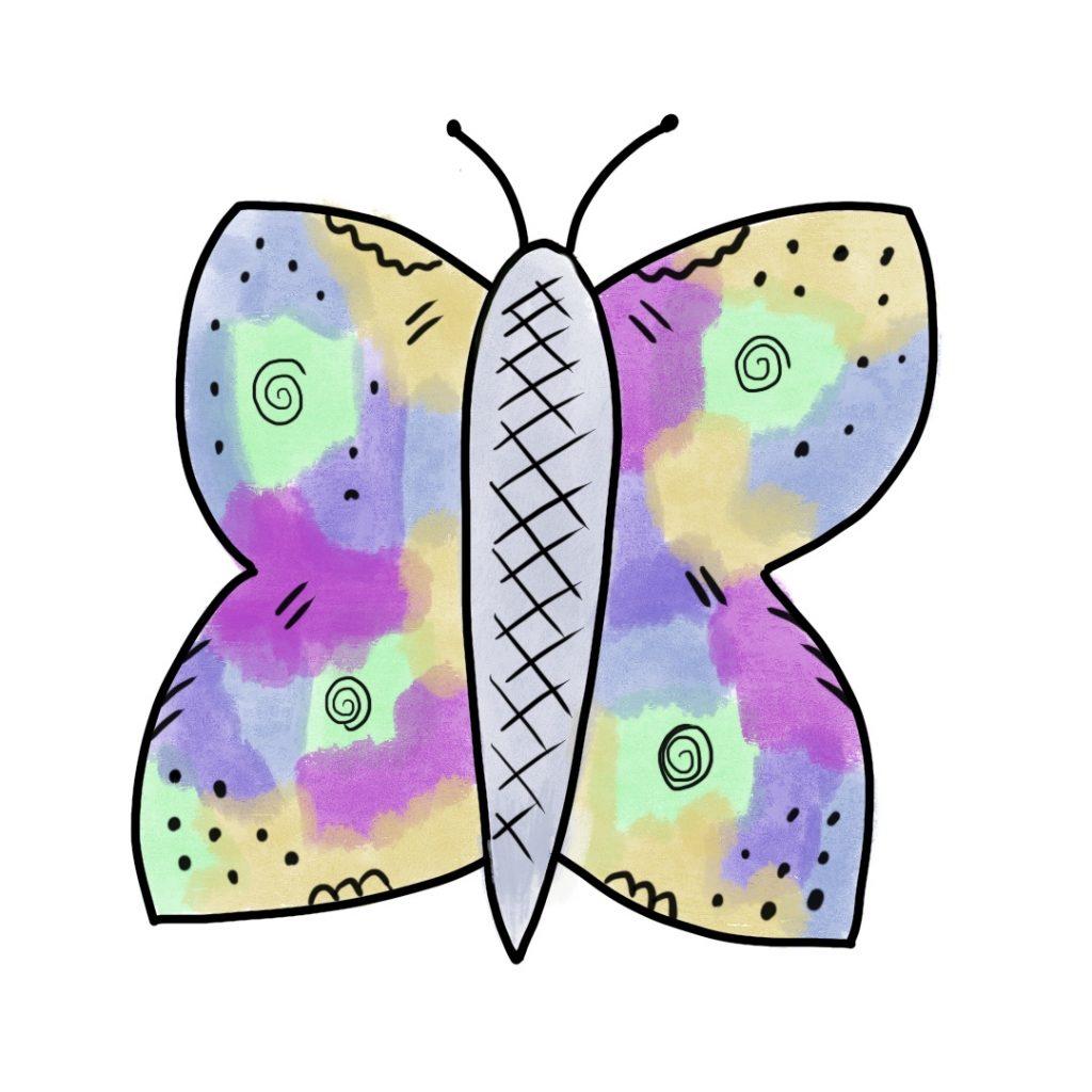 Papillon Peinture Et Feutre Noir (10)