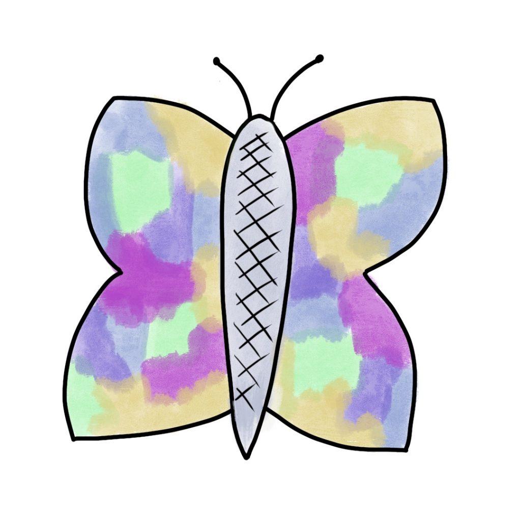 Papillon Peinture Et Feutre Noir (7)