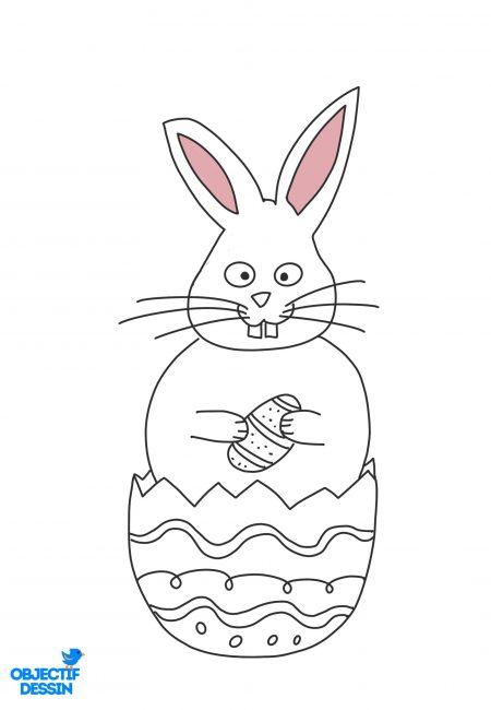 coloriage lapin Pâques