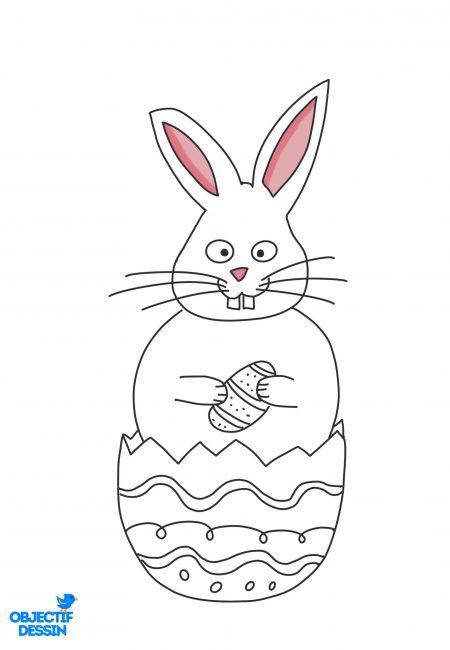 coloriage lapin Pâques 2
