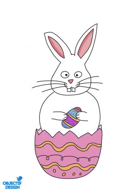 coloriage lapin Pâques 3