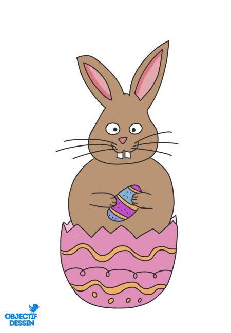 coloriage lapin Pâques 4