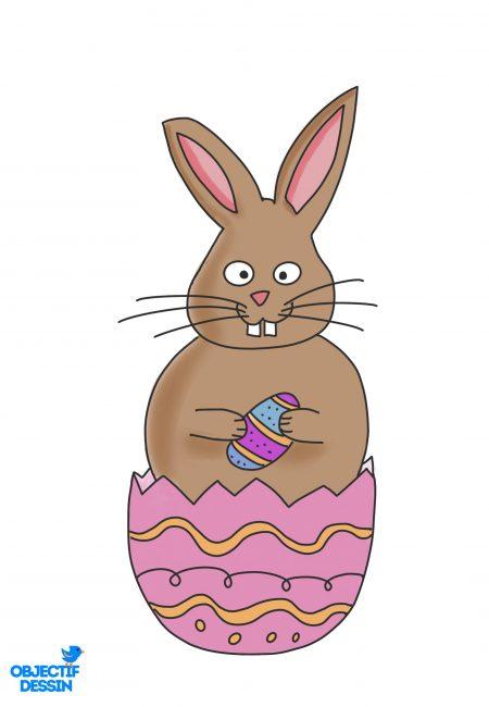 coloriage lapin Pâques 5
