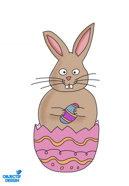 coloriage lapin Pâques 6